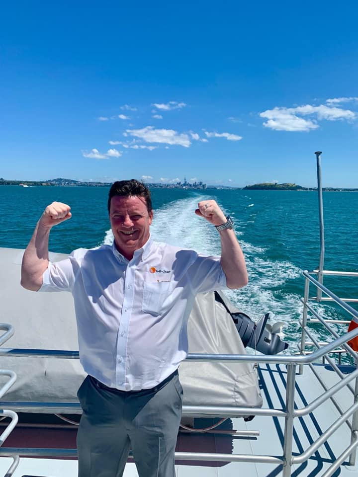 Managing Director Paurick on a boat in Australia